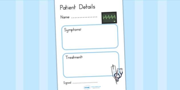 Doctors Surgery Patient Details - doctors role play, prop, doctor