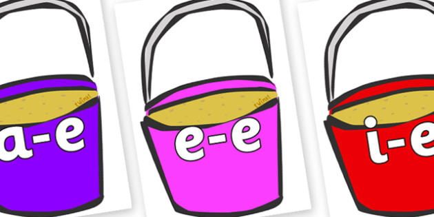 Modifying E Letters on Buckets - Modifying E, letters, modify, Phase 5, Phase five, alternative spellings for phonemes, DfES letters and Sounds