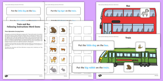 Train and Bus Following Instructions – 3 ICWs Game