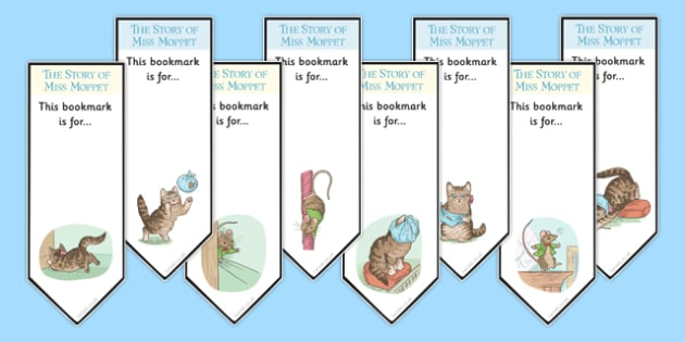 The Story of Miss Moppet Editable Bookmarks - beatrix potter, books, reading, keep, page, home, gift, make, design, art, colour, reward, craft, personal, name, tag, cut, ks1, ks2, key stage 1