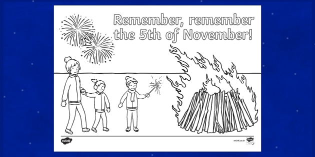 Remember Remember the 5th of November Colouring Page
