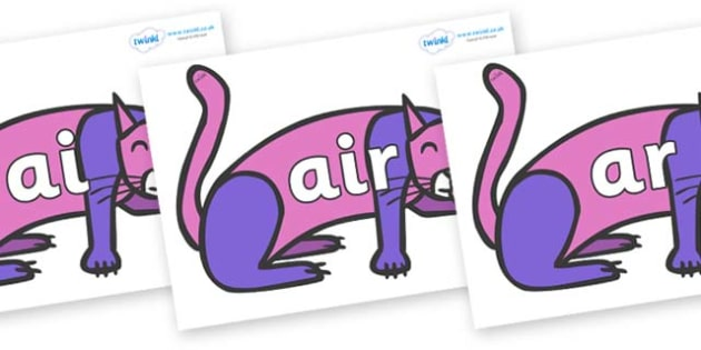Phase 3 Phonemes on Purple Cat to Support Teaching on Brown Bear, Brown Bear - Phonemes, phoneme, Phase 3, Phase three, Foundation, Literacy, Letters and Sounds, DfES, display