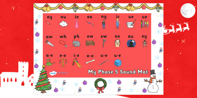 Christmas Themed Phase 5 Sound Mat - christmas, phase 5, phase five, sound mat, phase 5 sound mat, christmas themed sound mat, themed sound mat