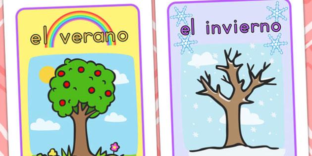 Spanish Seasons Display Posters - spanish, spain, season, weather