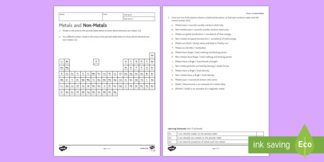 Ks3 Metals And Non Metals Homework Activity Sheet Homework