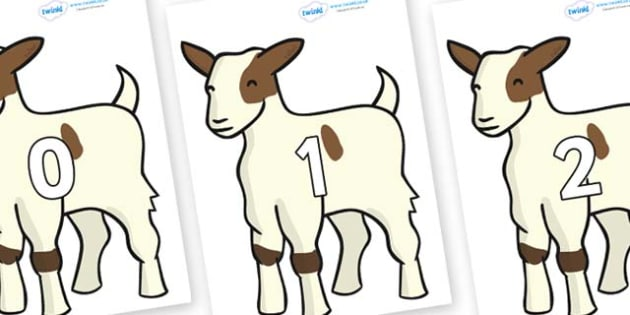 Numbers 0-100 on Baby Goats - 0-100, foundation stage numeracy, Number recognition, Number flashcards, counting, number frieze, Display numbers, number posters