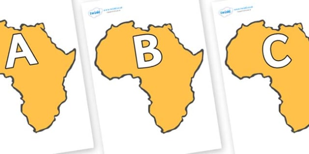 A-Z Alphabet on Africa - A-Z, A4, display, Alphabet frieze, Display letters, Letter posters, A-Z letters, Alphabet flashcards