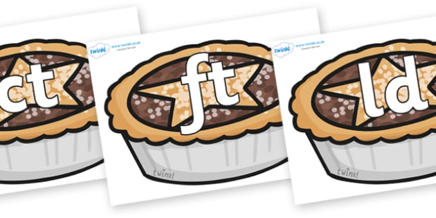 Final Letter Blends on Mince Pies - Final Letters, final letter, letter blend, letter blends, consonant, consonants, digraph, trigraph, literacy, alphabet, letters, foundation stage literacy