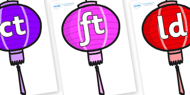 Final Letter Blends on Chinese Lanterns (Multicolour) - Final Letters, final letter, letter blend, letter blends, consonant, consonants, digraph, trigraph, literacy, alphabet, letters, foundation stage literacy