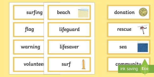 Surf Life Saving Australia Word Cards-Australia