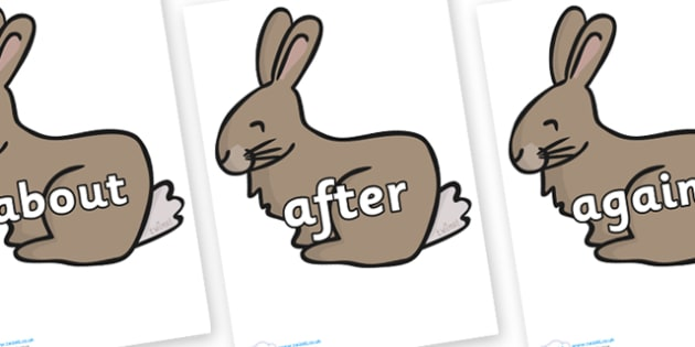 KS1 Keywords on Rabbit - KS1, CLL, Communication language and literacy, Display, Key words, high frequency words, foundation stage literacy, DfES Letters and Sounds, Letters and Sounds, spelling