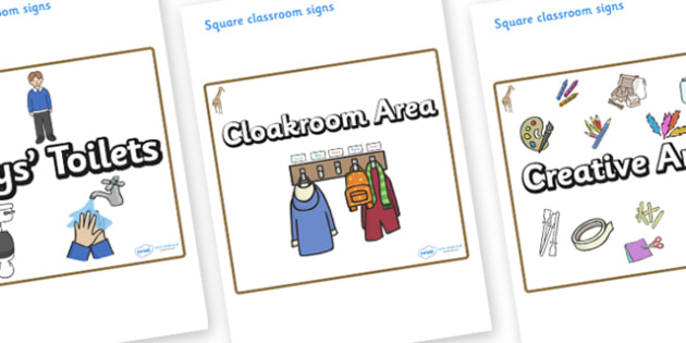 Giraffe Themed Editable Square Classroom Area Signs (Plain) - Themed Classroom Area Signs, KS1, Banner, Foundation Stage Area Signs, Classroom labels, Area labels, Area Signs, Classroom Areas, Poster, Display, Areas