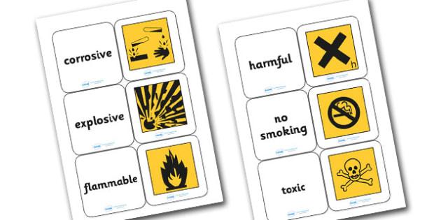 Warning Symbols Matching Cards - warning symbols matching game, warning symbols, what warning symbols mean, science game, science activity, ks2 science