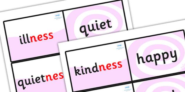 Suffix Loop Cards (ness) - suffix loop cards, suffix ness, words ending in ness, ness words, suffix loop game, suffix activity, ks2 english, ks2 literacy