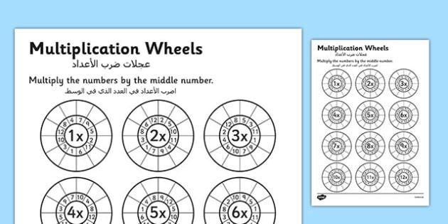 Multiplication Wheels Worksheet Arabic Translation - arabic, multiplication wheels, times tables, multiplication worksheets, times table worksheets, ks2 numeracy, multiplication