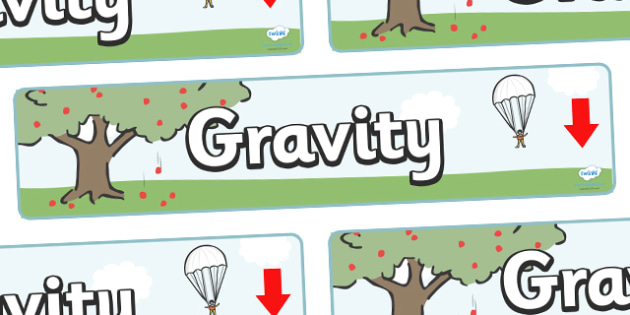 Gravity Display Banner - Force, Movement, display, banner, sign, force, forces, gravity, push, pull, Magnet, friction, science, knowledge and understanding of the world