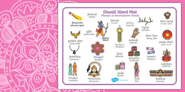 Diwali Word Mat English/Polish