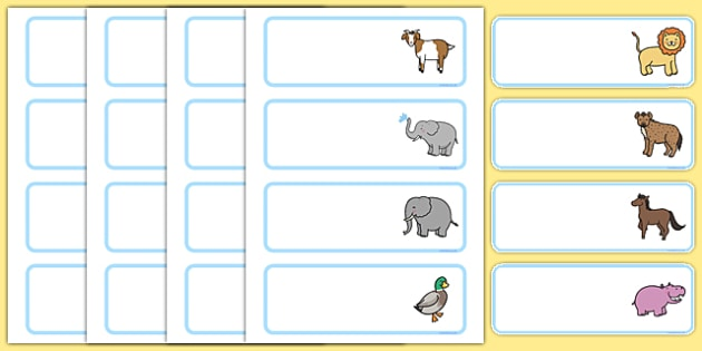 Cute Animal Themed Drawer Labels - cute animal, drawer, peg, name, labels, display