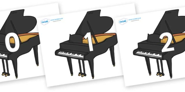 Numbers 0-31 on Baby Grand Pianos - 0-31, foundation stage numeracy, Number recognition, Number flashcards, counting, number frieze, Display numbers, number posters