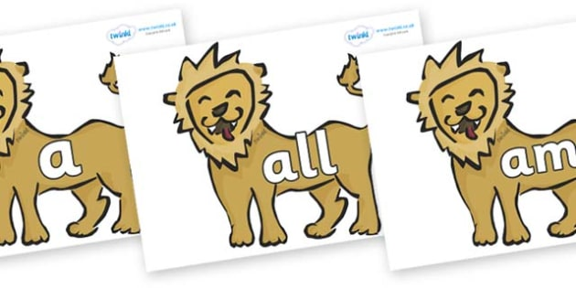Foundation Stage 2 Keywords on Lions - FS2, CLL, keywords, Communication language and literacy,  Display, Key words, high frequency words, foundation stage literacy, DfES Letters and Sounds, Letters and Sounds, spelling