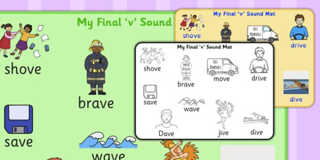 Final 'V' Sound Word Mat 2 - final v, sound, word mat, word, mat