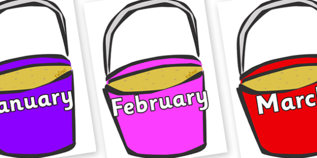 Months of the Year on Buckets - Months of the Year, Months poster, Months display, display, poster, frieze, Months, month, January, February, March, April, May, June, July, August, September