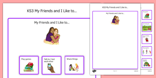 KS3 My Friends and I Like To Cut and Stick Activity - ks3, my friends, like to, cut, stick, activity