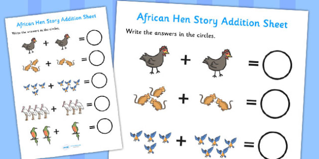 African Hen Story Addition Sheet - adding, worksheets, maths