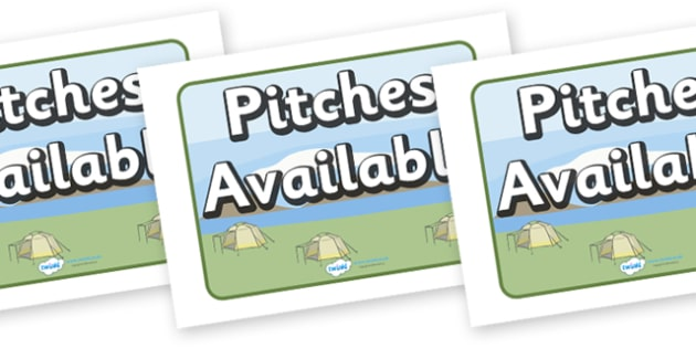 Pitches Available Display Sign - Campsite, role play, camping, sign, banner, Poster, Display, tent, pegs, campsite booking, caravan, holidays, holiday