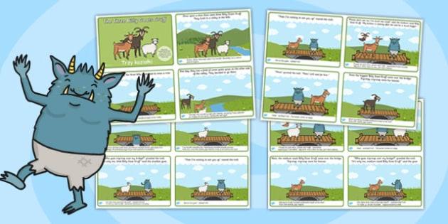The Three Billy Goats Gruff Story Sequencing 4 Per A4 Polish Translation - polish