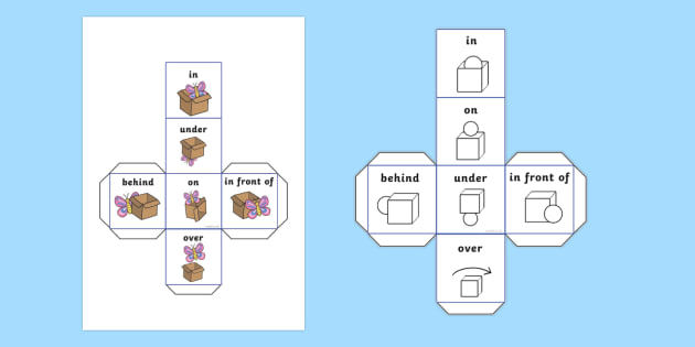 Reading Book Question Prompts Dice Net - numeracy, SEN, visual aid, position, game, prepositions