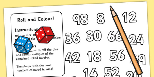 Multiplication Roll and Colour Activity (Two Di) - times tables, numeracy
