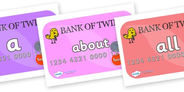 100 High Frequency Words on Debit Cards - High frequency words, hfw, DfES Letters and Sounds, Letters and Sounds, display words