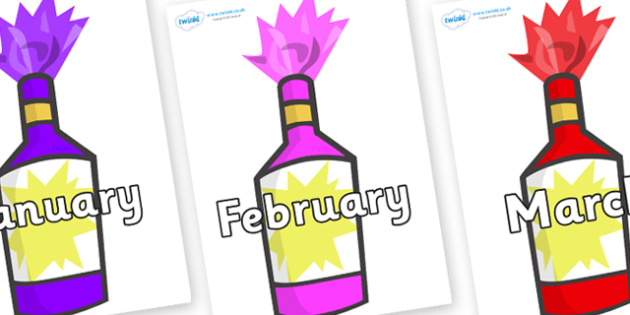 Months of the Year on Party Poppers - Months of the Year, Months poster, Months display, display, poster, frieze, Months, month, January, February, March, April, May, June, July, August, September