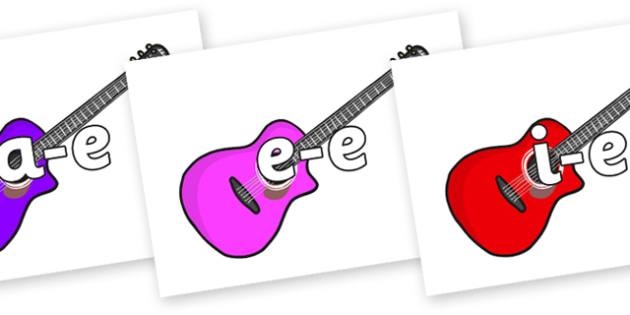 Modifying E Letters on Guitars - Modifying E, letters, modify, Phase 5, Phase five, alternative spellings for phonemes, DfES letters and Sounds