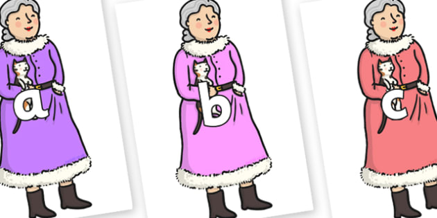 Phase 2 Phonemes on Mrs Clause to Support Teaching on The Jolly Christmas Postman - Phonemes, phoneme, Phase 2, Phase two, Foundation, Literacy, Letters and Sounds, DfES, display