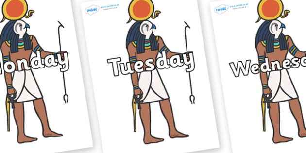 Days of the Week on Egyptian Figures - Days of the Week, Weeks poster, week, display, poster, frieze, Days, Day, Monday, Tuesday, Wednesday, Thursday, Friday, Saturday, Sunday