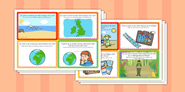 Challenge Cards Travel Agents Role Play Arabic Translation - arabic