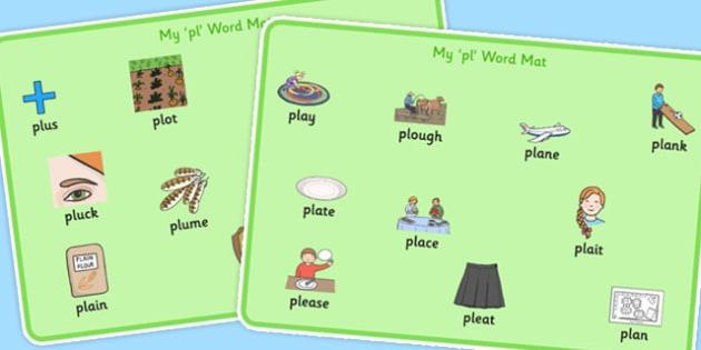 PL Sound Word Mats - pl sound, pl, sound, word mats, word, mats, sen