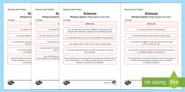 CfE Sciences (Biological Systems) Second Level Child Friendly Tracking-Scottish