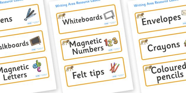 Lion Themed Editable Writing Area Resource Labels - Themed writing resource labels, literacy area labels, writing area resources, Label template, Resource Label, Name Labels, Editable Labels, Drawer Labels, KS1 Labels, Foundation Labels, Foundation S