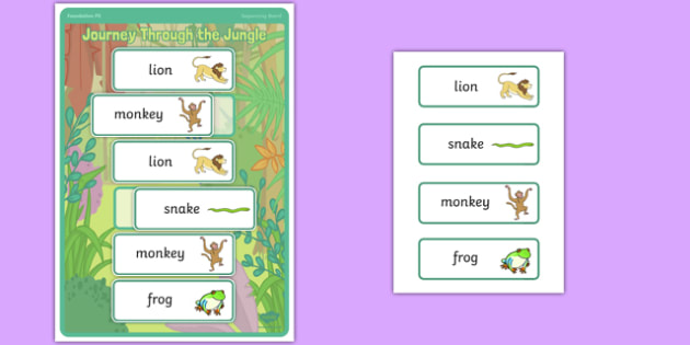 Journey Through the Jungle Sequencing Board - EYFS, PE, Physical Development, gymnastics, ordering, animals