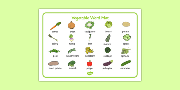 Vegetable Word Mat - vegetable, word mat, word, mat, food, eat