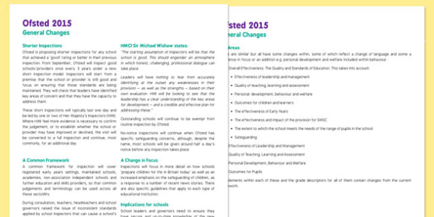 Ofsted 2015 Changes - ofsted, 2015, changes, new changes, 2015 changes