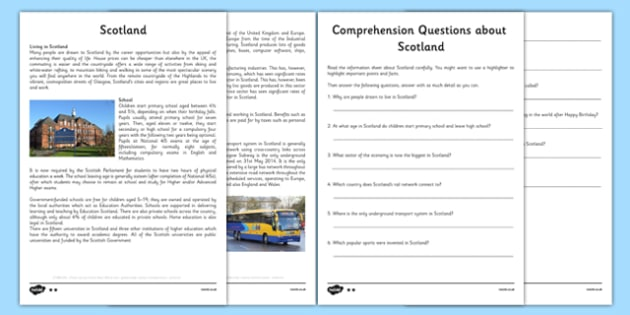 Scotland Information Sheets and Comprehension Questions - scotland, information sheets, comprehension, questions, cfe