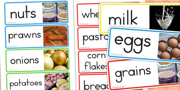 Food Groups Photo Word Cards - food, visual aids, keywords