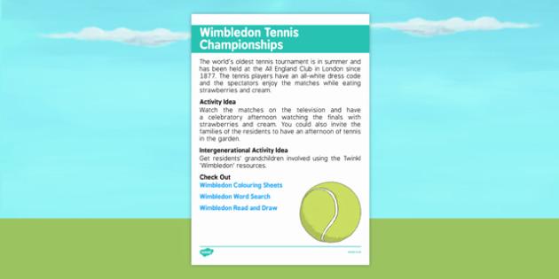 Elderly Care Calendar Planning June 2016 Wimbledon Tennis Championships - Elderly Care, Calendar Planning, Care Homes, Activity Co-ordinators, Support, June 2016
