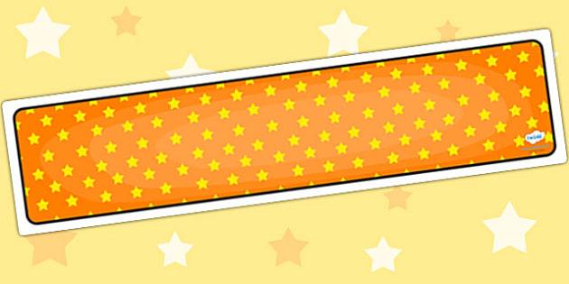 Orange with Yellow Stars Editable Display Banner - orange, yellow, display, banner, display banner, display header, themed banner, editable banner