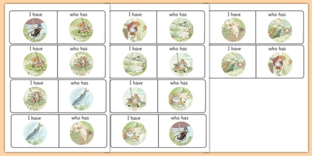 Beatrix Potter - The Tale of Mr Jeremy Fisher 'I Have, Who Has?' Describing Activity - beatrix potter, jeremy fisher
