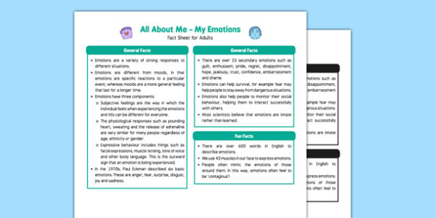 Ourselves All About Me My Emotions Fact Sheet For Adults - My Emotions Literacy Primary Resources, emotion, feeling, happy, sad, emotion words, reading, Early Years (EYFS), KS1 & KS2 Primary Teaching Resources, adult, carer, teacher, information, dat